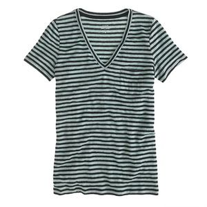 Jcrew Linen V-Neck in Stripe Size XS